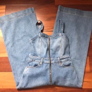 Denim wide leg overalls